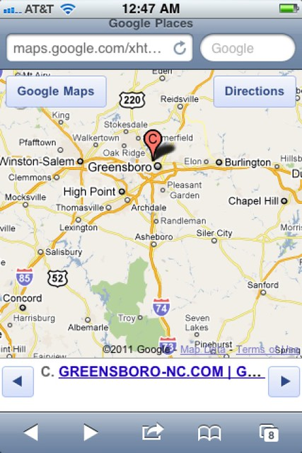 greensboro image logo iphone screen capture google maps
