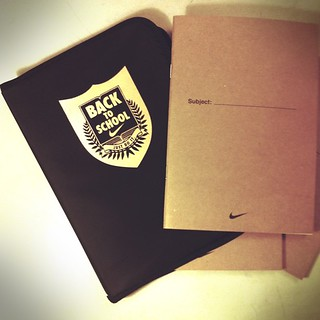 Purchase any Nike bags during back to school promotion, get this free notebook set by Nike - ruled/square/blank notebooks in nylon cover, while stock lasts | by Patrick Ng