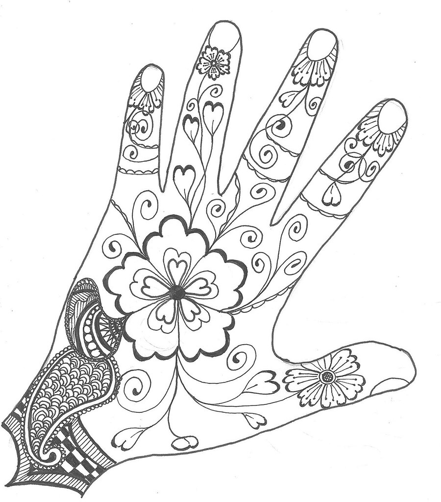 Outline mehndi for challenge - Dessin de henne pour les mains ...