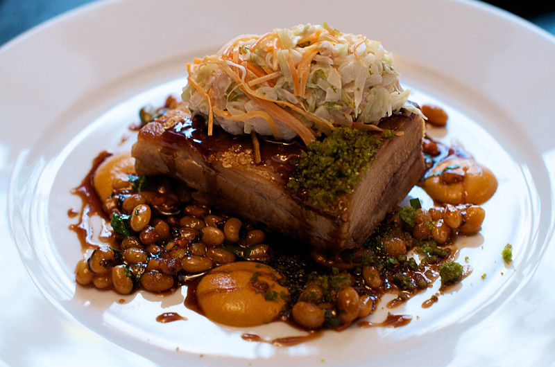 Pork belly confit with bean cassoulet & barbeque sauce ... Will Smith