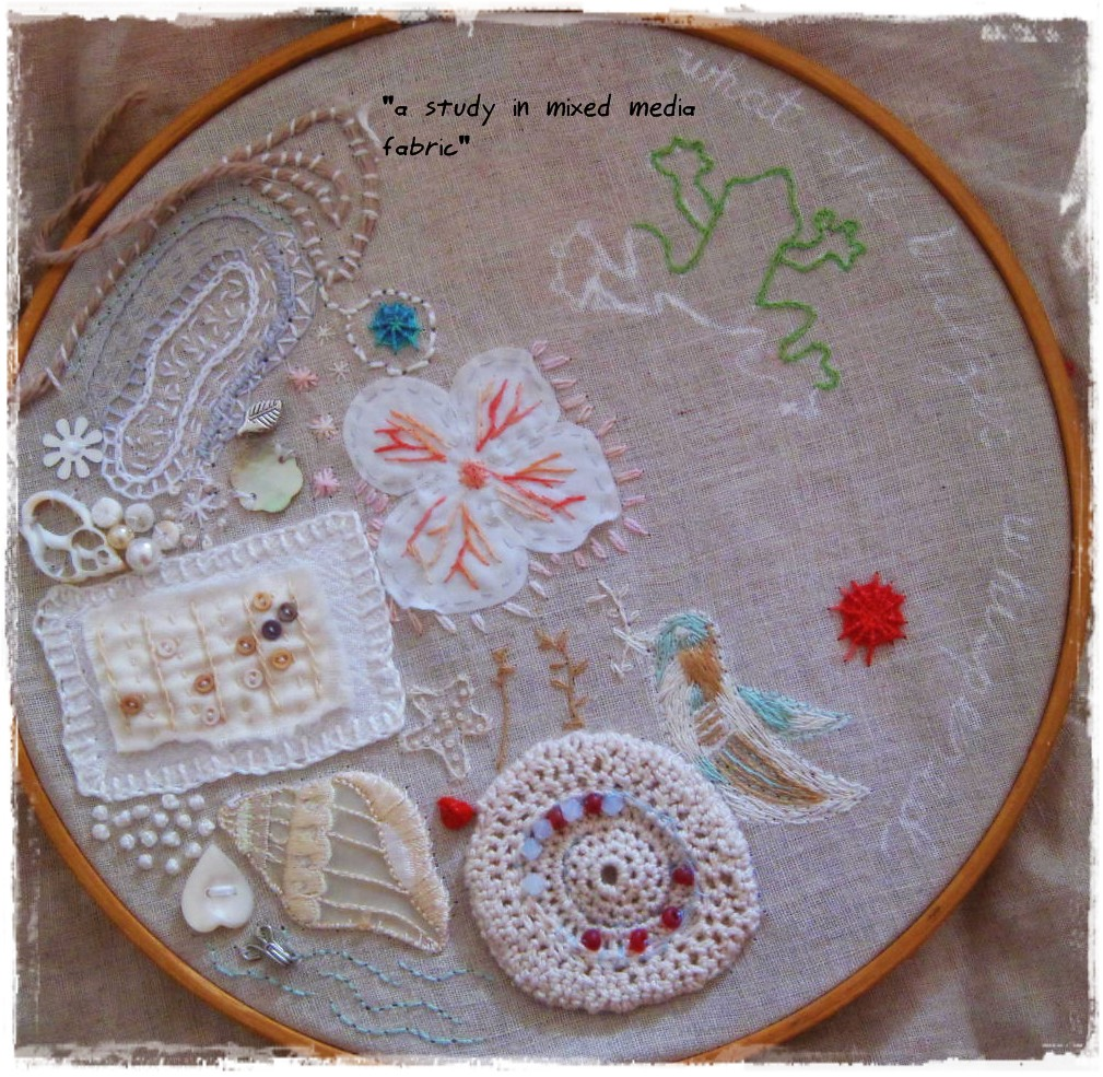 Quot a study in mixed media fabric embroidery hoop art flickr