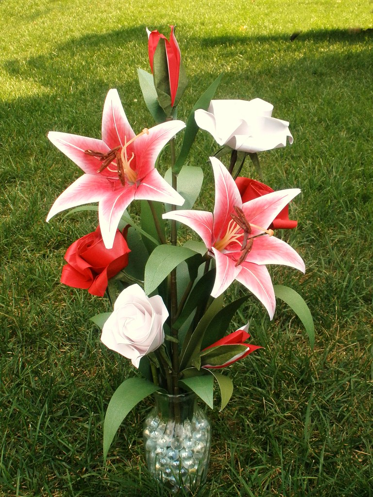 Origami Roses And Stargazer Lilies