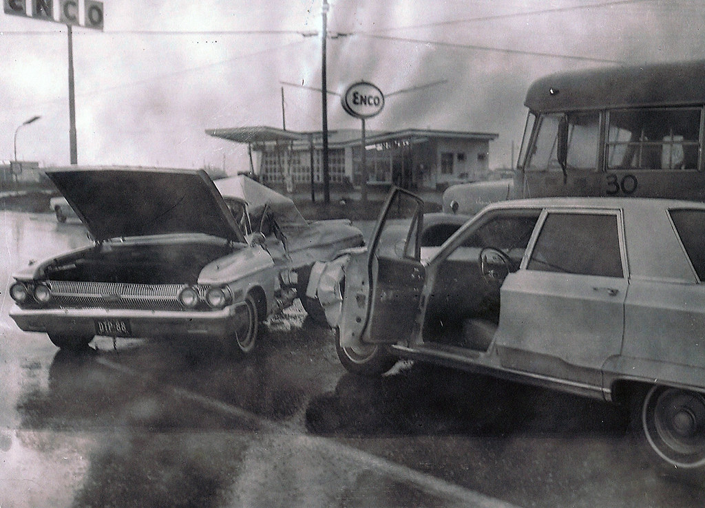 Free Car History Report >> Car Accident in Front of Enco Gas Station | Euless Historical Preservation Committee | Flickr