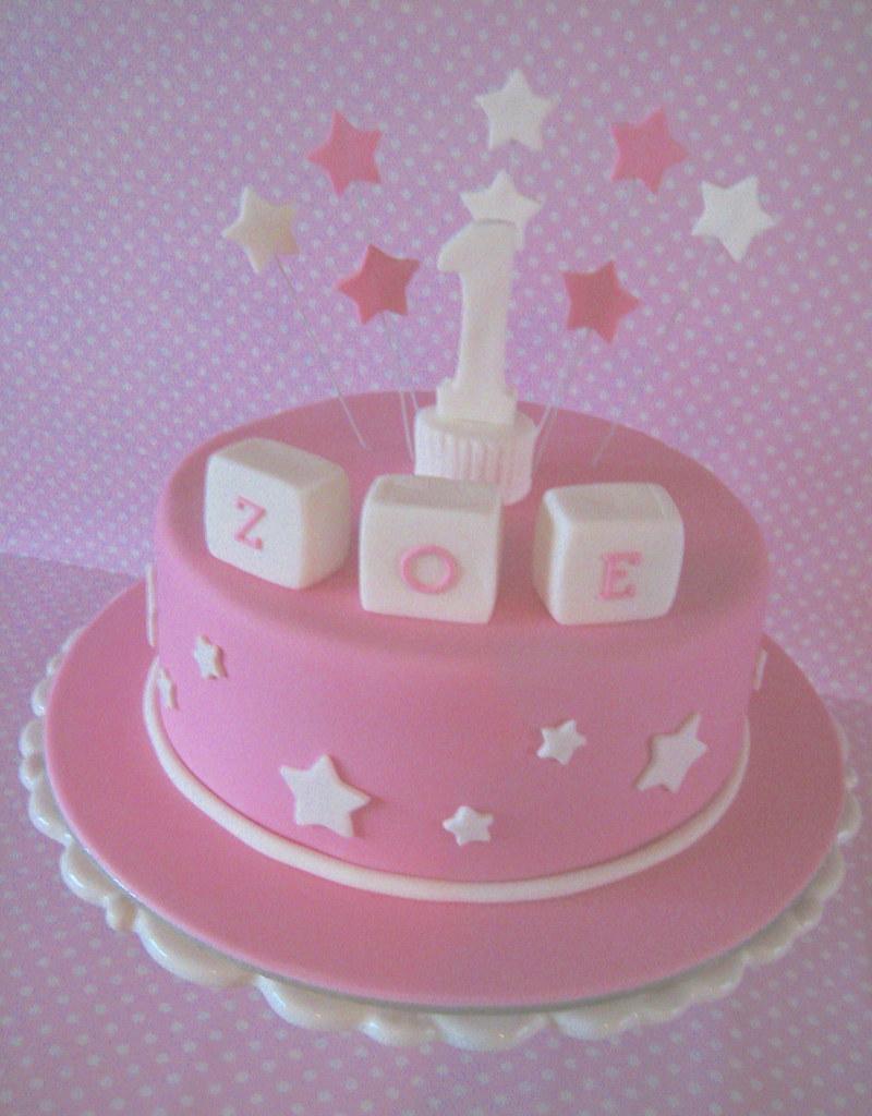 Pretty Pink Zoe Cake Chocolate Mud Cake For A 1st Birthda Flickr