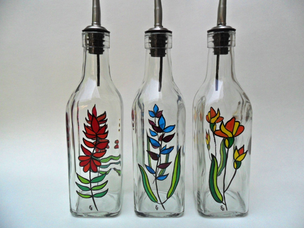 Olive oil bottles hand painted olive oil bottles with Painting old glass bottles