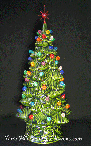Old Time Ceramic Christmas Tree Multi Color Electric Light