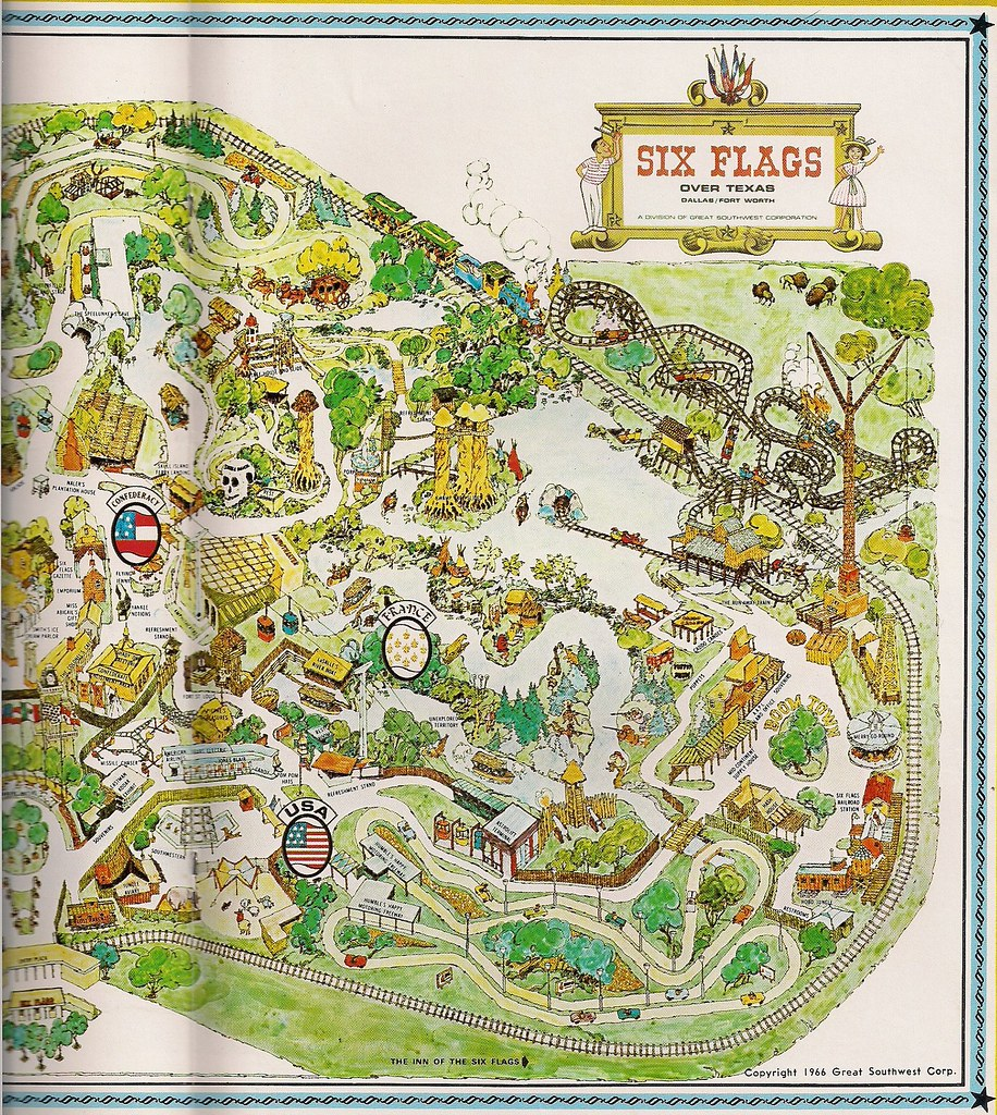 1966 Six Flags Over Texas Map Yarbrough Flickr
