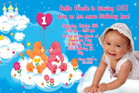 Care Bears Castle First Birthday Invitation Outrageously A – Care Bear Birthday Invitations