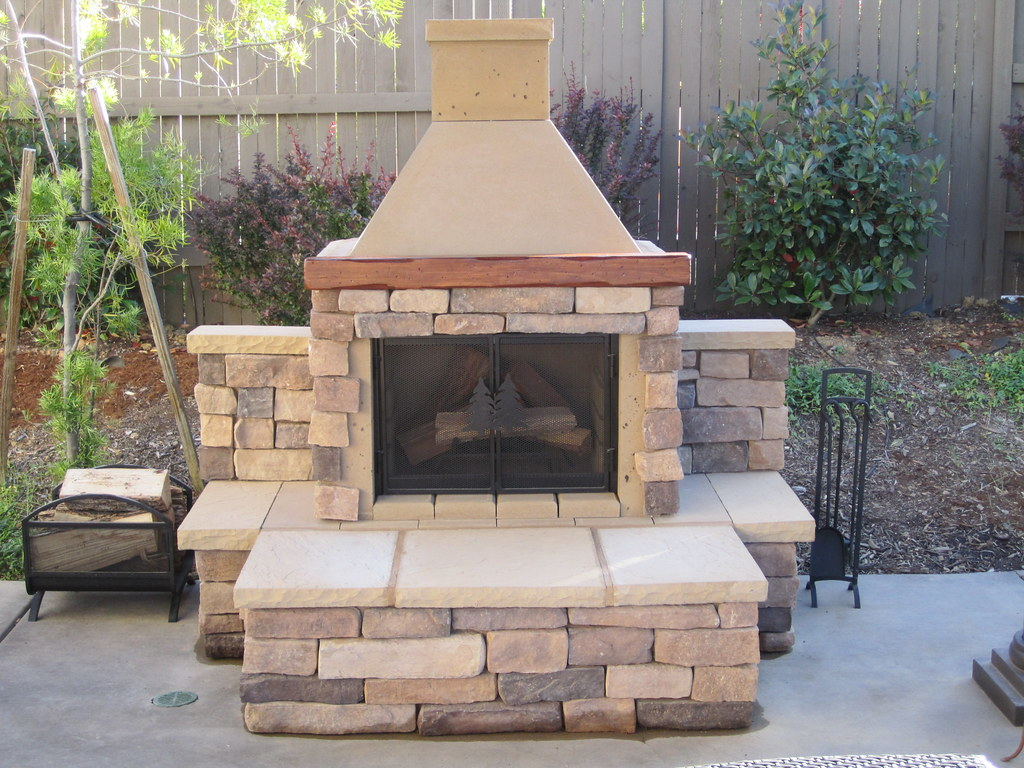 Perfect outdoor fireplace bbq edition tan with custom ston for Fireplace and bbq
