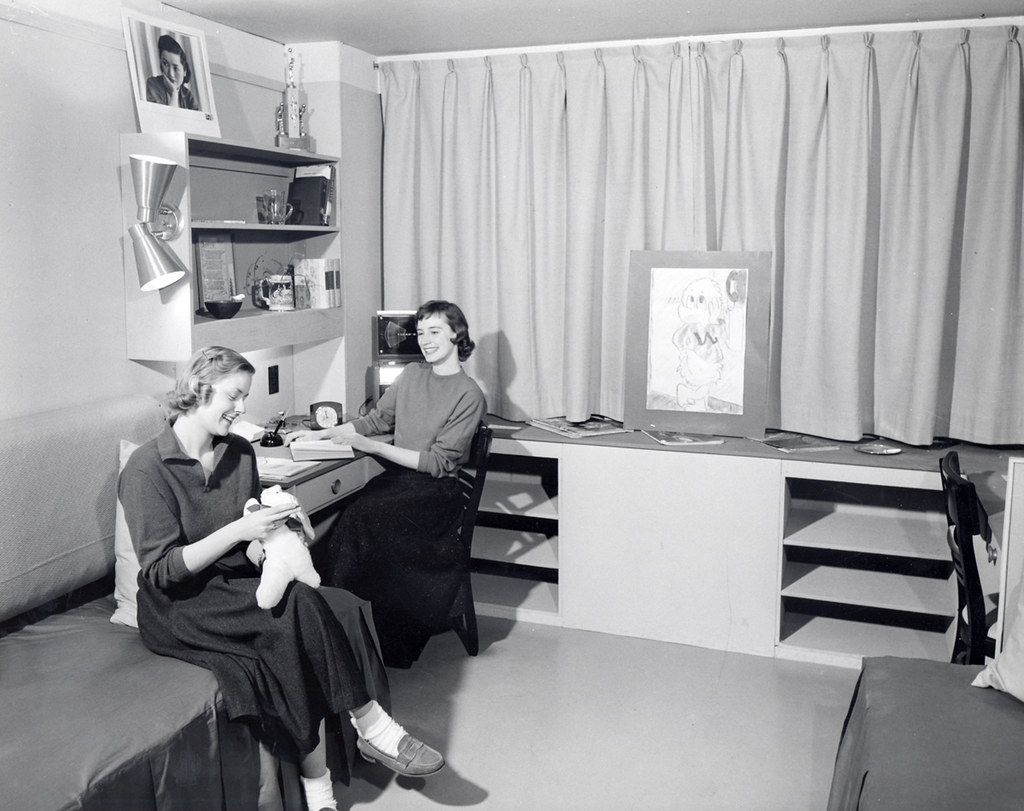 Mock Up Dorm Room In Chadbourne Hall 1950s Two Women