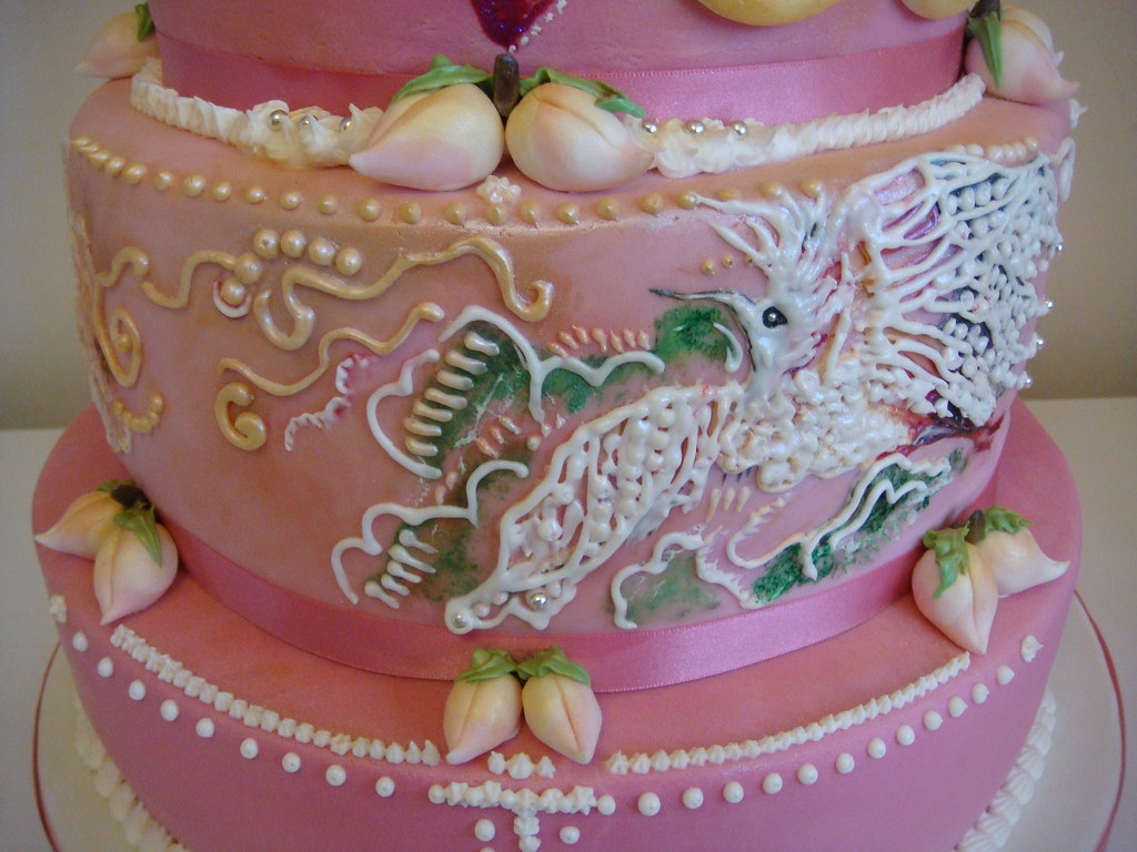 Flower Blossom With Crane Birthday Cake Couture Cakes Dreams