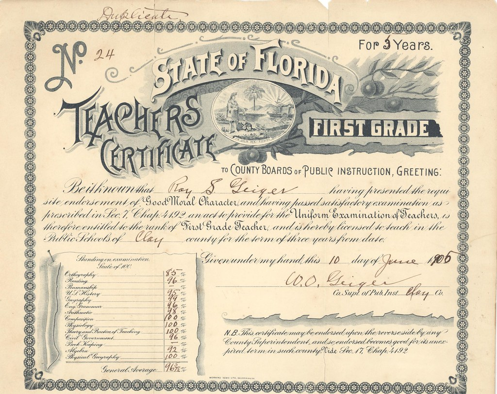 First Grade Teaching Certificate Roy Geiger 1905 Flickr