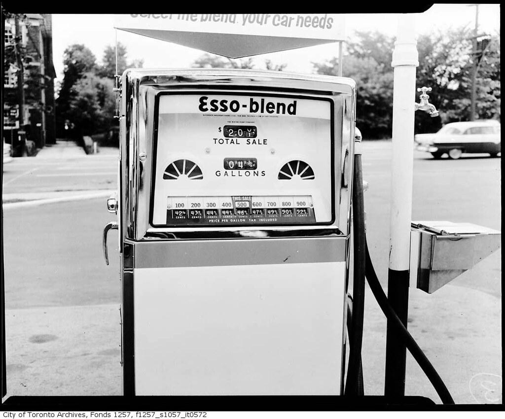 esso gas pump photographer alexandra studio ca 1965