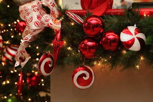 red green and silver christmas decorations