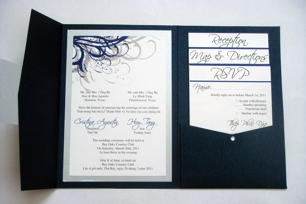 Blue (Navy) and Silver Vietnamese Wedding Invitations | Flickr