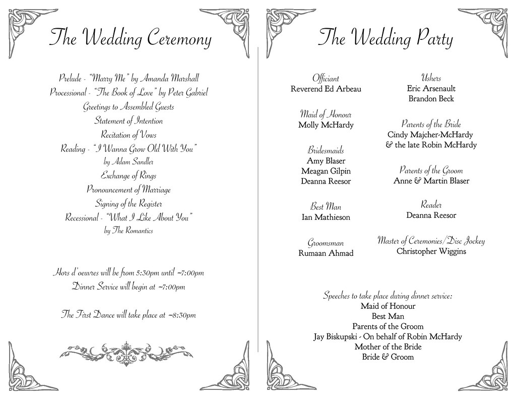 McHardyBlaser Wedding Program Inside 30 July 2011 A