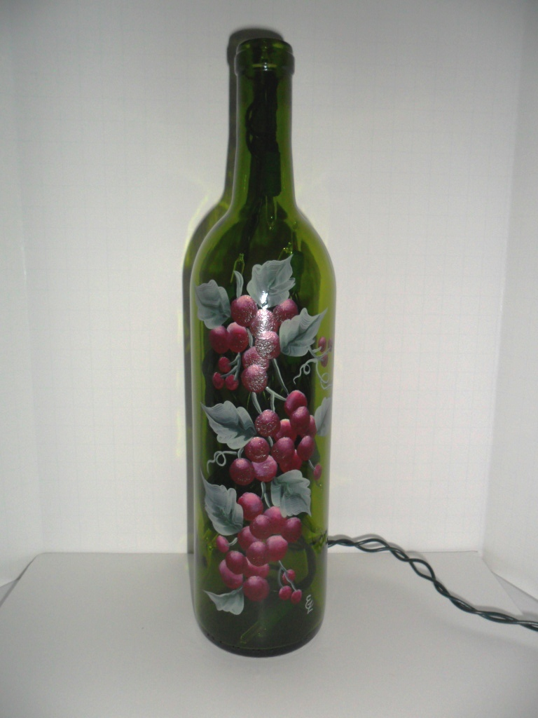 Lighted Wine Bottle Hand Painted Grapes 750 Ml I Love