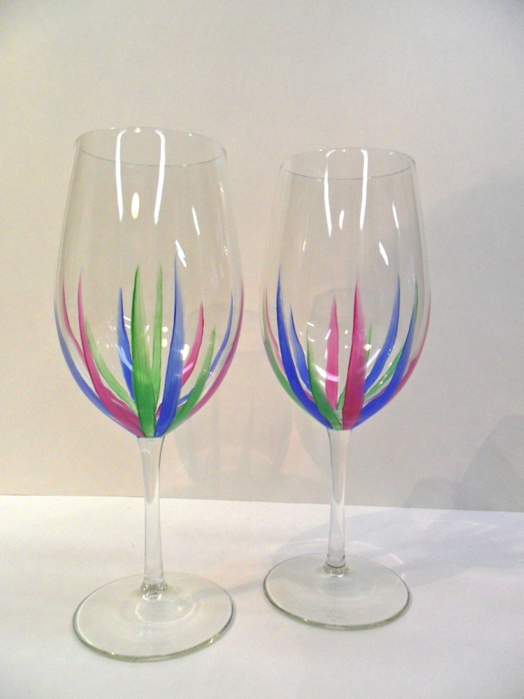 Modern Wine Glasses Hand Painted Design Green Blue Pink Se