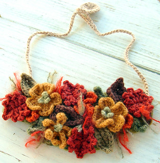 Fall Harvest Bib Necklace in Crochet | by meekssandygirl