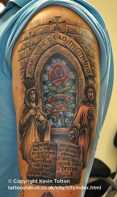 stained glass memorial tattoo a custom reworking and cover flickr. Black Bedroom Furniture Sets. Home Design Ideas