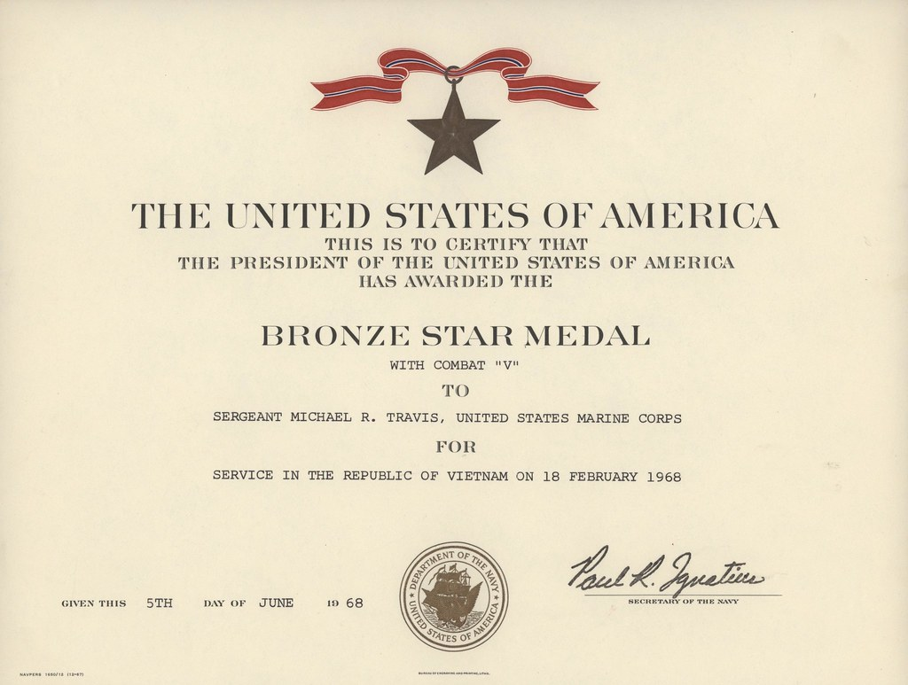 Bronze Star Certificate, 1968 | The Bronze Star Medal was ...