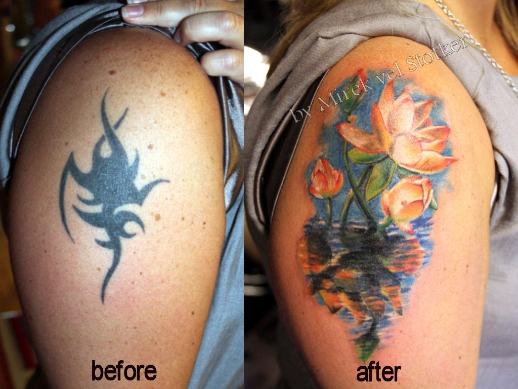 Tattoo Cover Up Lotus Flower By Mirek Vel Stotker Stotker Flickr