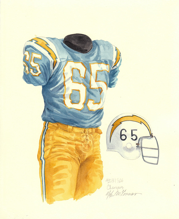 San Diego Chargers Home Stadium: San Diego Chargers 1966 Uniform Artwork