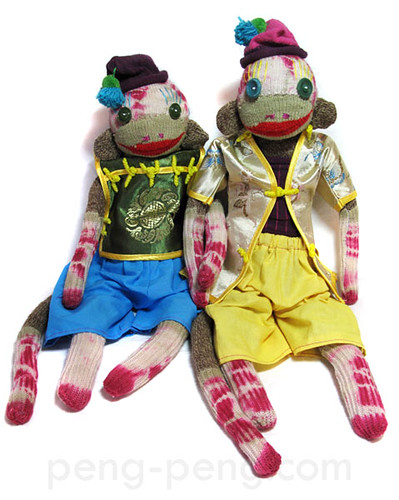 Ling Ling + Mai Pang - tie dyed sock monkeys by Peng Peng | by pengpengs