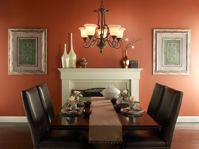 Traditional dining room walls firebrick 210d 7 trim for Colores para casa interior