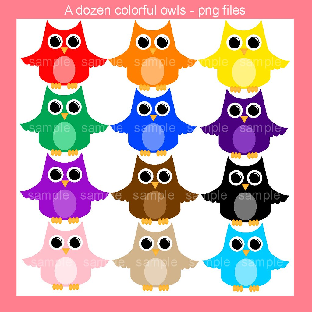 rainbow owls clipart set this is a set of colorful owls th flickr rh flickr com