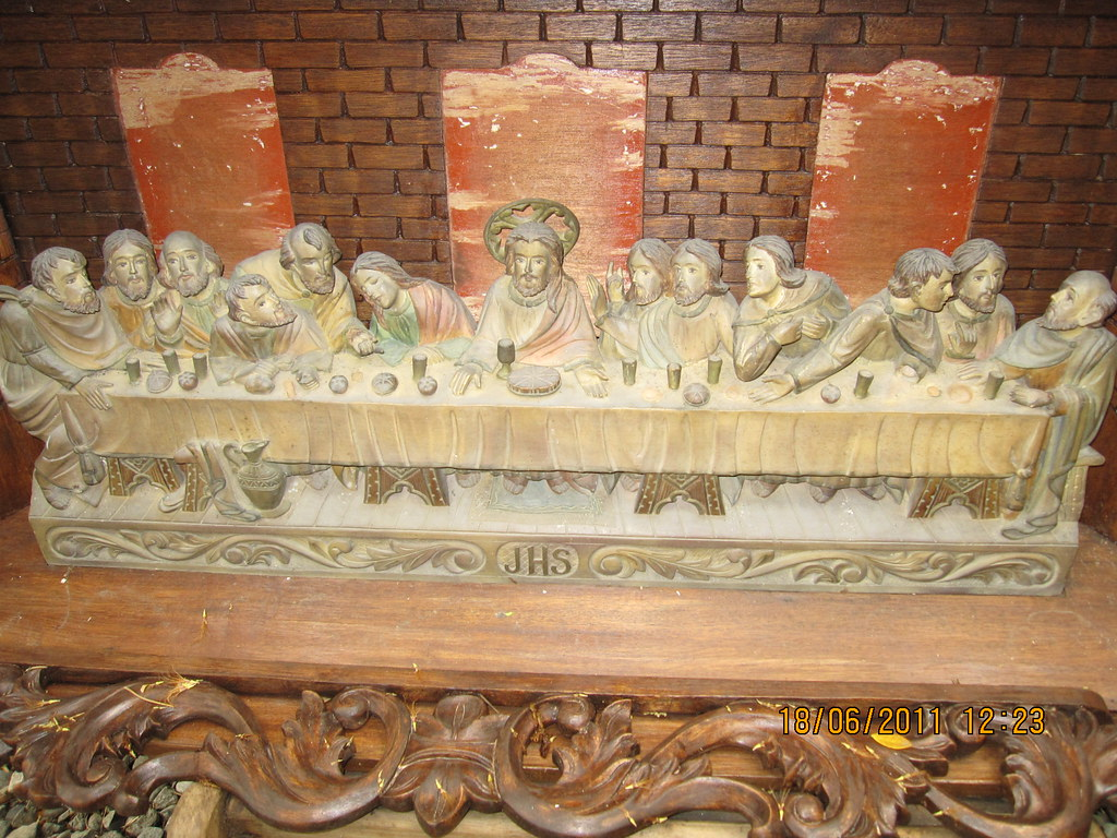 Antique mother of pearl christian icon of the last supper from
