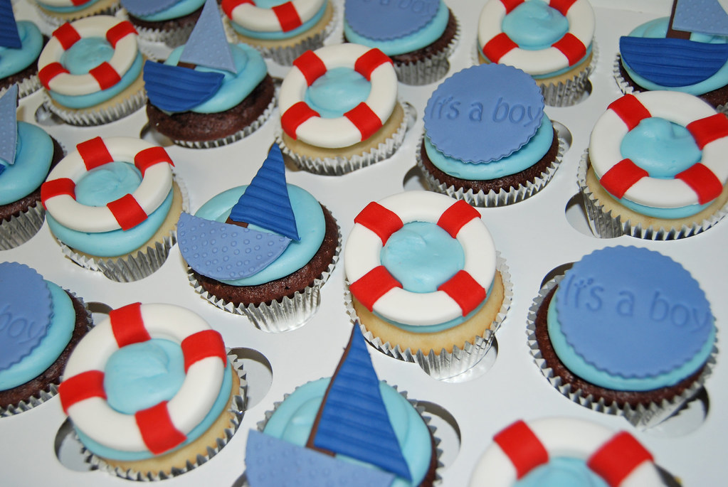 nautical themed baby shower cupcakes sailboats life pre Flickr