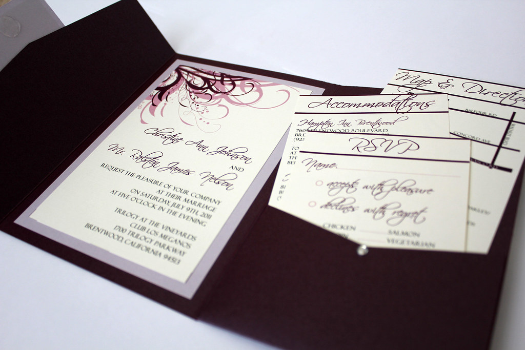 Purple and Ivory Wedding Invitations | Eggplant and Wisteria… | Flickr