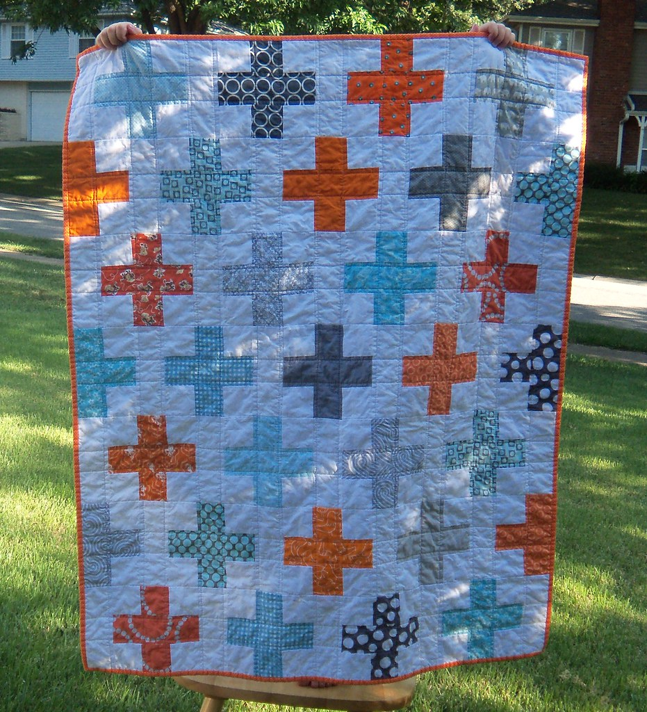 Blue Orange And Gray Plus Quilt This Was Inspired By Th Flickr