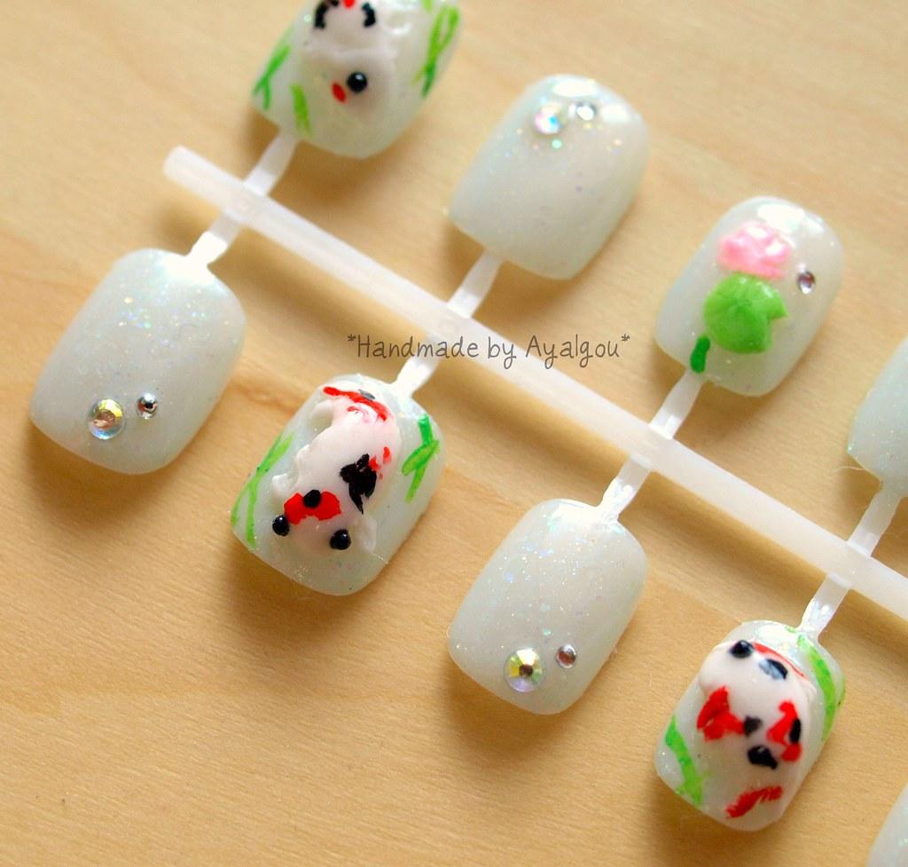 Koi fish nail art | Handmade by me ^^ | aya1gou | Flickr