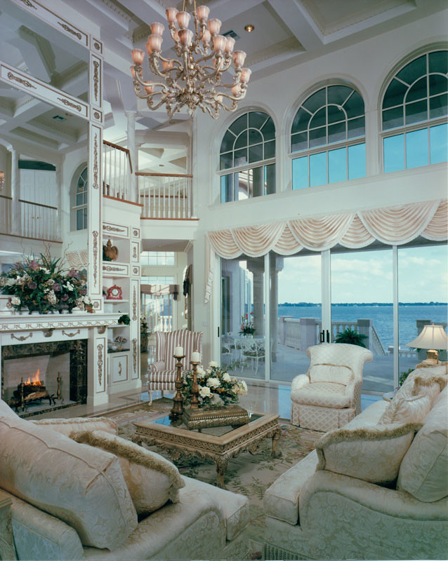 Riverfront estate model living living room in a daniel for Our house interiors