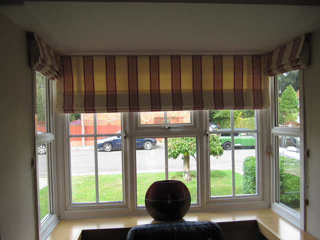 Another view of roman blinds in a bay window flickr for Roman shades for bay window