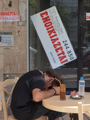 For Rent says the sign behind the man. Thessaloniki, Greece | by Teacher Dude's BBQ