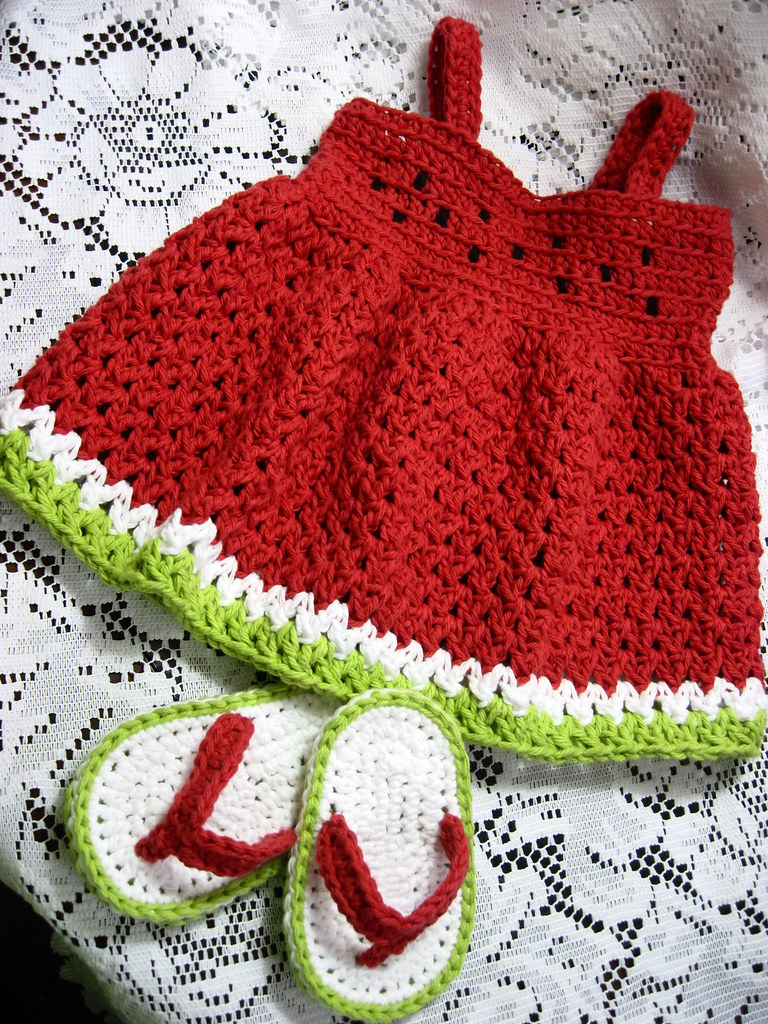 Free Crochet Watermelon Dress Pattern : swEEt waTErMeLOn bABy sUndReSS Maddi now has a sundress ...