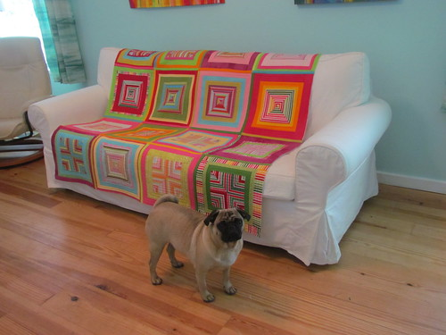 Trying it out on the couch | by Melody Johnson Quilts