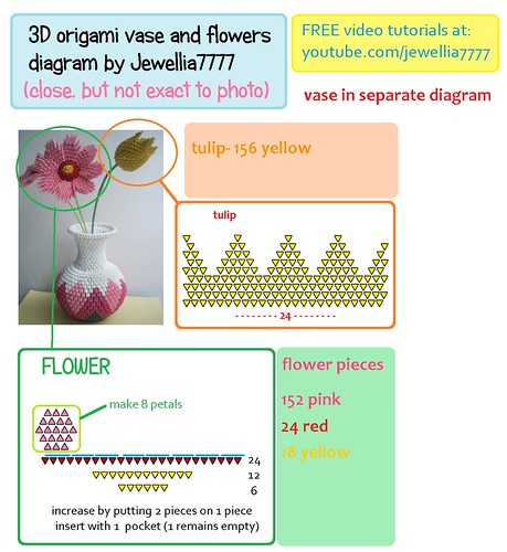 Vase 3d Origami Diagram: (I Dont Have That Bright Red Colour