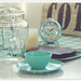 vintage aqua table setting