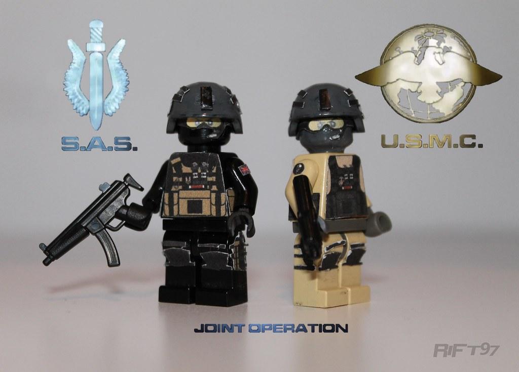 sas and usmc submachine gun soldiers