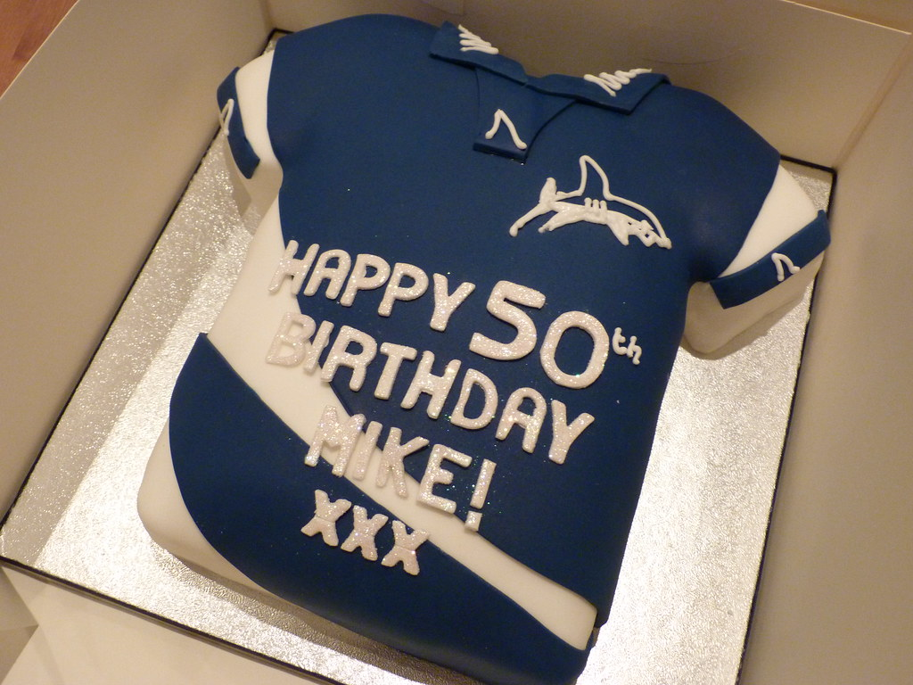 Sale Sharks rugby shirt cake 50th birthday cake for a Sale Flickr