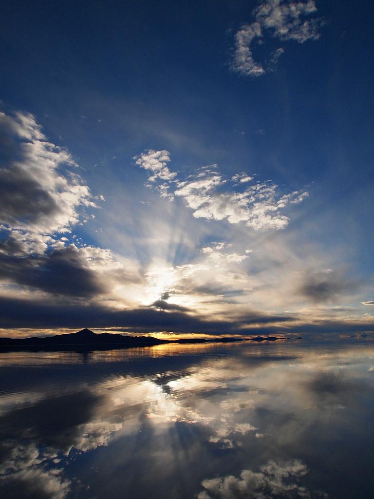 Sunset Reflection Salar De Uyuni Bolivia Sunset And