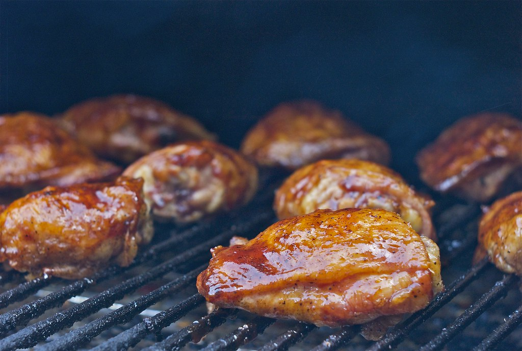 Grilled Chicken Thighs On Traeger Grill Chicken Rub Sea S Flickr