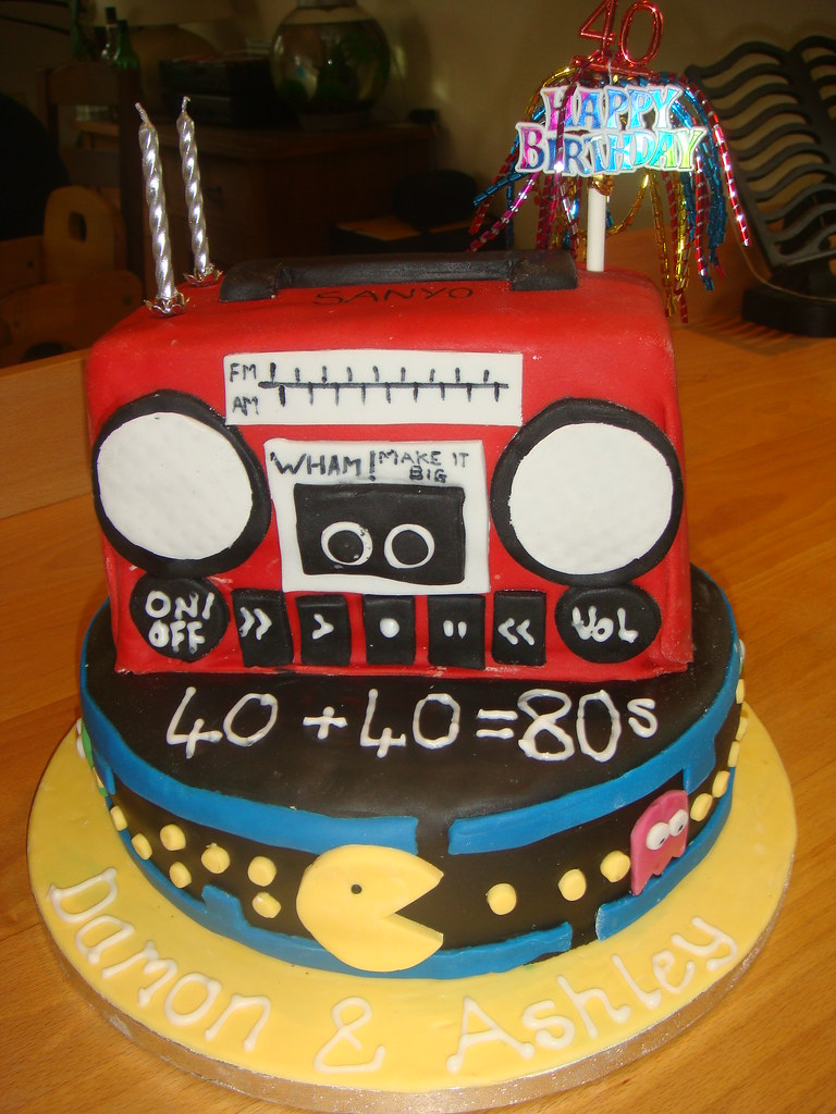 80s Pac Man And Ghetto Blaster Birthday Cake For More I Flickr