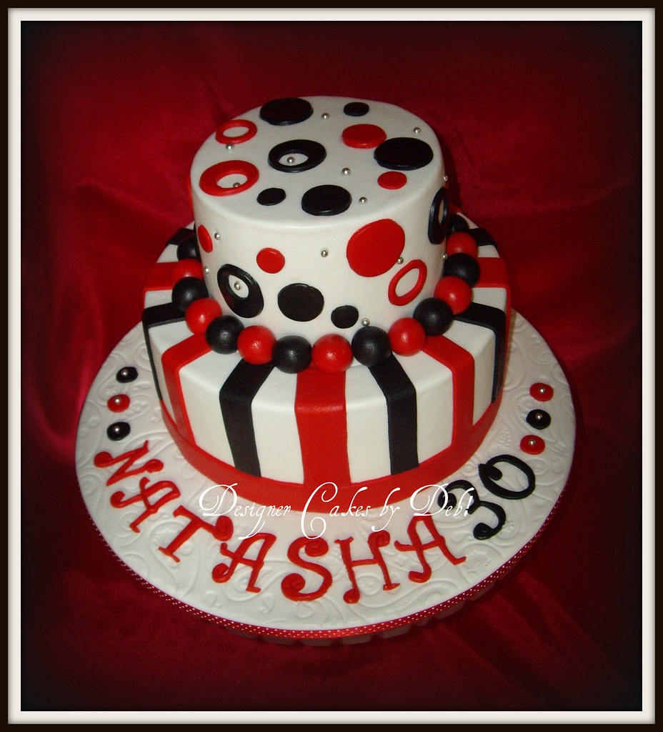 Funky red Black White 30th Birthday Cake This is a vers Flickr