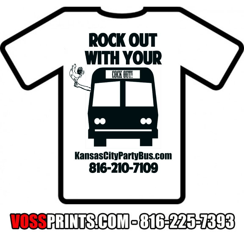 Cock party bus white t shirt clip art inbox 816 210 7109 for T shirt printing missouri city tx
