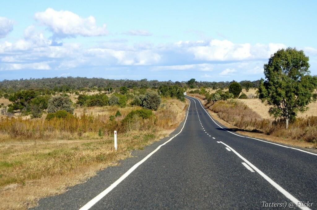 on the road from biloela to monto  queensland  australia